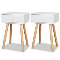 vidaXL Bedside Tables 2 pcs Solid Pinewood 40x30x61 cm White