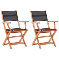 vidaXL Folding Garden Chairs 2 pcs Black Solid Eucalyptus Wood and Textilene