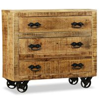vidaXL Sideboard with 3 Drawers Rough Mango Wood
