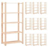vidaXL 5-Tier Storage Racks 10 pcs 80x38x170 cm Solid Pinewood 250 kg