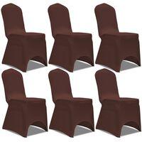 vidaXL Stretch Chair Cover 6 pcs Brown