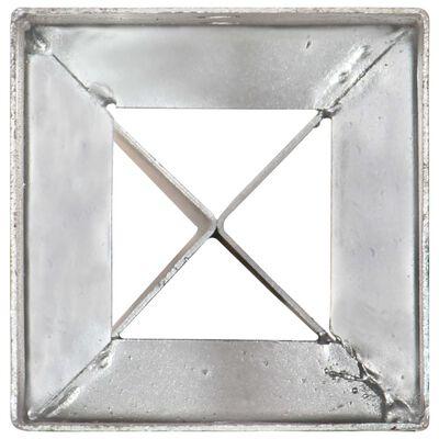 vidaXL Ground Spikes 2 pcs Silver 10x10x91 cm Galvanised Steel,