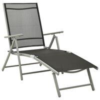 vidaXL Folding Sun Lounger Textilene and Aluminium Black and Silver