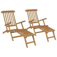 vidaXL Deck Chairs with Footrests 2 pcs Solid Teak Wood