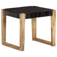 vidaXL Stool Black Real Leather and Solid Mango Wood