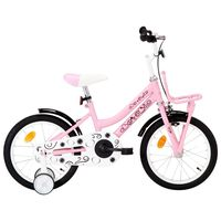 vidaXL Kids Bike with Front Carrier 16 inch White and Pink