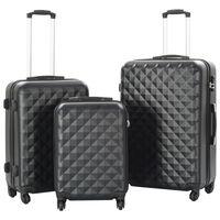 vidaXL Hardcase Trolley Set 3 pcs Black ABS
