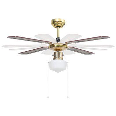 vidaXL Ceiling Fan with Light 106 cm Brown