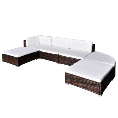 vidaXL 6 Piece Garden Lounge Set with Cushions Poly Rattan Brown