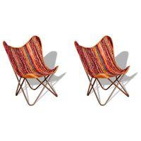 vidaXL Butterfly Chairs 2 pcs Multicolour Chindi Fabric