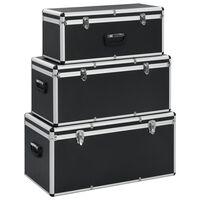 vidaXL Storage Cases 3 pcs Black Aluminium