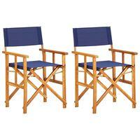 vidaXL Director's Chairs 2 pcs Solid Acacia Wood Blue