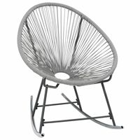 vidaXL Outdoor Rocking Moon Chair Grey Poly Rattan