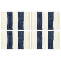 vidaXL Placemats 4 pcs Chindi Stripe Blue and White 30x45 cm