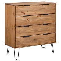 vidaXL Drawer Cabinet White 76.5x39.5x90.3 cm Solid Pine Wood