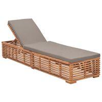 vidaXL Sun Lounger with Dark Grey Cushion Solid Teak Wood