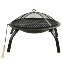 vidaXL 2-in-1 Fire Pit and BBQ with Poker 56x56x49 cm Steel