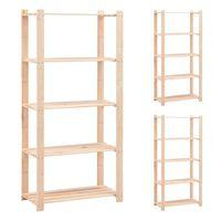 vidaXL 5-Tier Storage Racks 3 pcs 80x38x170 cm Solid Pinewood 250 kg