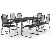 vidaXL 9 Piece Garden Dining Set PVC Rattan Black
