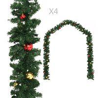 vidaXL Christmas Garlands 4 pcs with Baubles Green 270 cm PVC