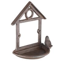 HI Hanging Bird Feeder House Shape 18 cm Brown