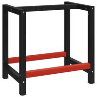 vidaXL Work Bench Frame Metal 80x57x79 cm Black and Red