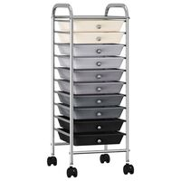 vidaXL 10-Drawer Mobile Storage Trolley Ombre Plastic
