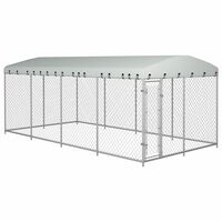 vidaXL Outdoor Dog Kennel with Roof 8x4x2 m