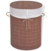 vidaXL Bamboo Laundry Bin Oval Brown