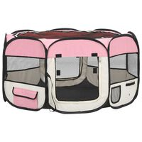 vidaXL Foldable Dog Playpen with Carrying Bag Pink 125x125x61 cm