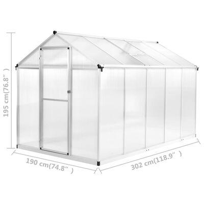 vidaXL Greenhouse Aluminium 302x190x195 cm 11.19 m³