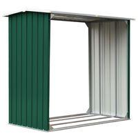 vidaXL Log Storage Shed Galvanised Steel 172x91x154 cm Green