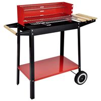 HI Charcoal Barbecue Grill Wagon 88x44x83 cm Red