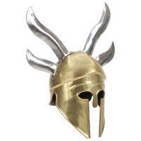 vidaXL Greek Warrior Helmet Antique Replica LARP Brass Steel