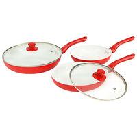 vidaXL 5 Piece Frying Pan Set Red Aluminium