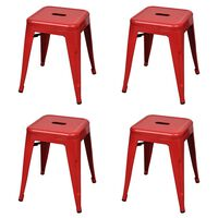 vidaXL Stacking Stools 4 pcs Red Steel