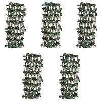 vidaXL Willow Trellis Fences 5 pcs with Artificial Leaves 180x60 cm