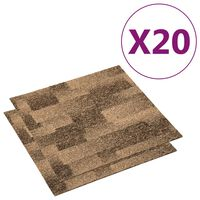 vidaXL Floor Carpet Tiles 20 pcs 5 m² Brown