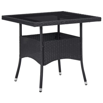 vidaXL Outdoor Dining Table Black Poly Rattan and Glass