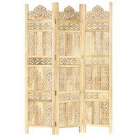 vidaXL Hand carved 3-Panel Room Divider 120x165 cm Solid Mango Wood
