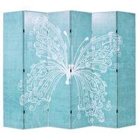 vidaXL Folding Room Divider 228x170 cm Butterfly Blue