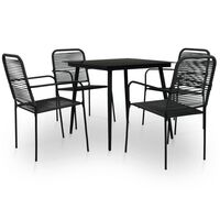 vidaXL 5 Piece Outdoor Dining Set Cotton Rope and Steel Black