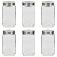 vidaXL Storage Jars with Silver Lid 6 pcs 2100 ml