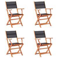 vidaXL Folding Garden Chairs 4 pcs Black Solid Eucalyptus Wood and Textilene