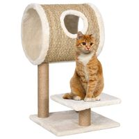 vidaXL Cat Tree with Tunnel and Scratching Post 69 cm Seagrass