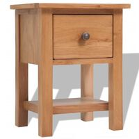 vidaXL Nightstand 36x30x47 cm Solid Oak Wood
