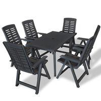 vidaXL 7 Piece Outdoor Dining Set Plastic Anthracite
