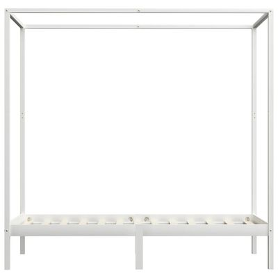 vidaXL Canopy Bed Frame White Solid Pine Wood 100x200 cm