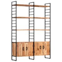 vidaXL 4-Tier Bookcase 124x30x180 cm Solid Acacia Wood