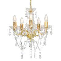 vidaXL Chandelier with Crystal Beads Golden Round 5 x E14